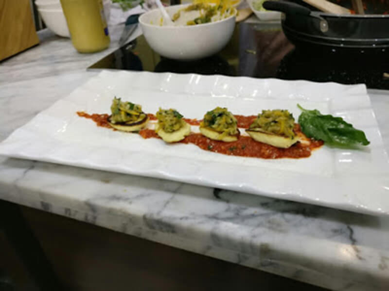 Ricotta chunks with zucchini salad