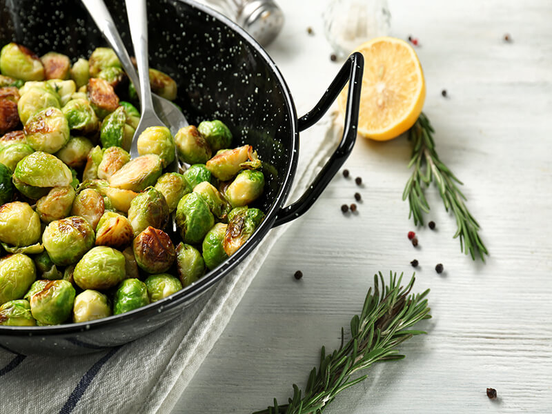 Sizzled Sprouts with Pistachios and Pomegranate