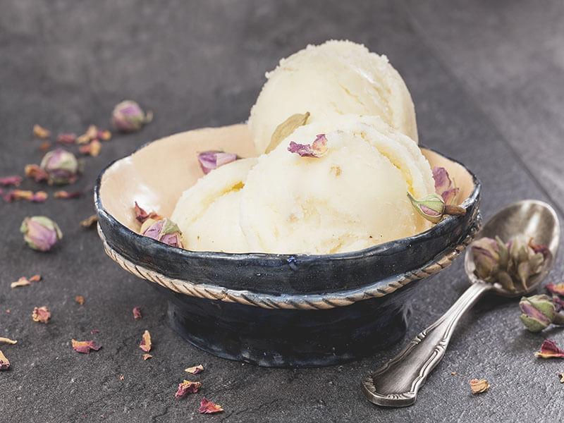 Rose and Tender Coconut Ice Cream