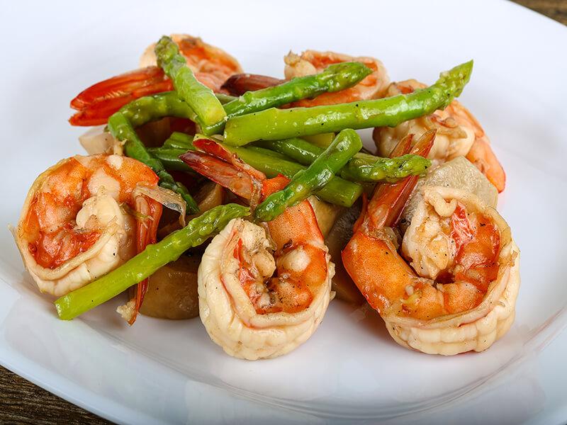 Meal Prep Of Shrimp And Asparagus